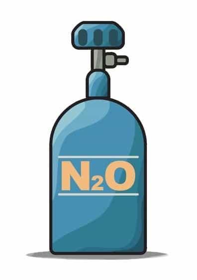 Botella de óxido nitroso.